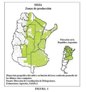 Cobertura de cultivo de soja transgénica por departamentos en todo el país y Provincia de Buenos Aires