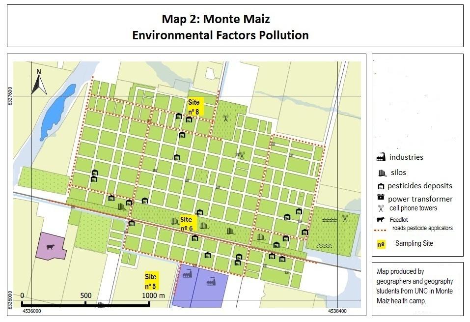 Fuentes de contaminación en Monte Maíz y sitios de tomas de muestras químicas