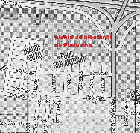 Figura 1. Mapa de Barrio San Antonio y ubicación de la planta de bioetanol de Porta Hnos.