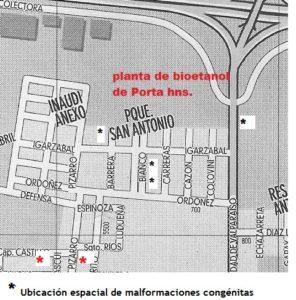 relación espacial entre la destileria dePorta Hnos. y Barrio San Antonio y las familias afectadas de malformaciones