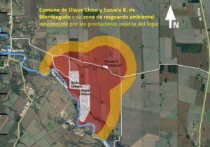 Villa de Dique Chico y su zona de resguardo ambiental violada por empresarios sojeros, al igual que la Escuela Monteagudo