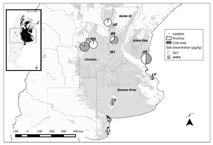 Fig. 1. Área de estudio, sitios de monitoreo y concentraciones de GLP y AMPA en los suelos en cada sitio. <los gráficos circulares de diámetros proporcionales a log10 de la concentración media de GLP + AMPA (μg • kg-1), indican las áreas relativas en hectáreas de soja sembradas en las diferentes ubicaciones indicadas en la figura con blanco que representa GLP y gris AMPA. Principales áreas de vigilancia: BK, Brinkman + HE, Hersilia (Santa Fe); I + MA, Malvinas Argentinas + MJ, Marcos Juárez (Córdoba); UR, Urdinarrian (Entre Ríos); LP: La Plata + CS, Coronel Suárez (Buenos Aires). El recuadro indica en negro la ubicación de toda el área de monitoreo dentro de Argentina.
