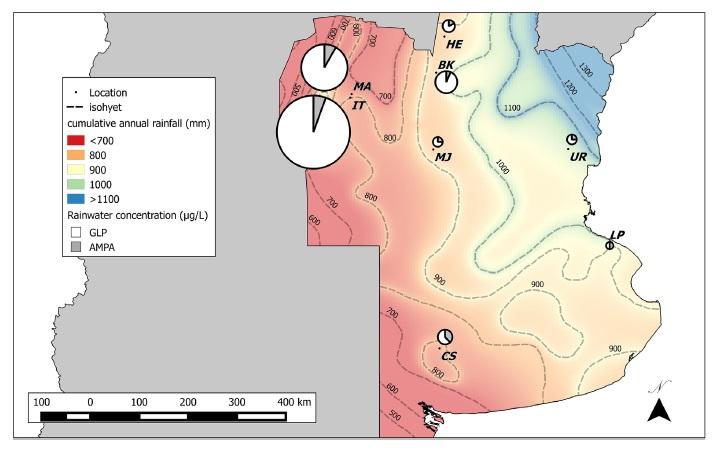 Fig. 2. Concentración relativa de GLP y AMPA en la lluvia en cada sitio de muestreo. Gráficos circulares de diámetros proporcionales a log10 de la concentración media (μg /L) de GLP (blanco) + AMPA (gris), que indican los niveles relativos de los dos herbicidas en el agua de lluvia en los sitios de monitoreo indicados. Las isobarras de precipitación acumulada anuales de la región de las pampas están indicadas por las líneas discontinuas. Categorías: Zona alta (azul a verde), HZ, a ≥1000 mm/año; Zona media, MZ (verde a amarillo), a 900-1000 mm/año; y zona baja (de naranja a rojo), LZ a <900 mm/año. (Para la interpretación de las referencias al color en esta leyenda de la figura, se remite al lector a la versión web de este artículo).