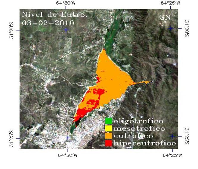 : Mapa de nivel de eutrofización del embalse San Roque elaborado a partir de una imagen LANDSAT-5TM de fecha 03-02-2010. Cortesía del Instituto de Altos Estudios Espaciales Mario Gulich (UNC-CONAE).